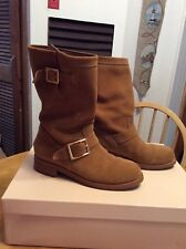 JIMMY CHOO Youth Biker RWL RCK Gold Tan Suede Leather Motorcycle BOOTS womens 38