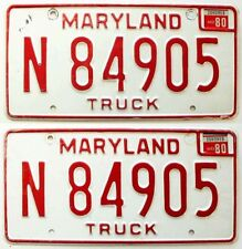 Vintage Maryland 1980 Truck License Plate Pair, Ford, Chevy, GMC, Dodge, Toyota