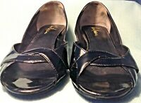 Cole Haan Pump Womens 5.5 B Black Patent Leather Cross Peep Toe Wedge Heel Shoes