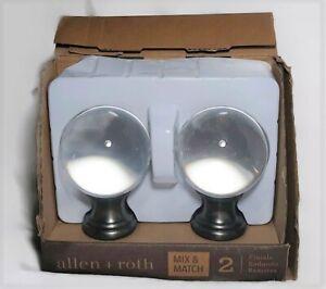Round Glass Globe Finials Allen + Roth Gunmetal Finish #1239782