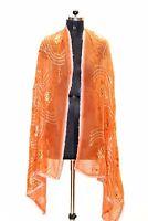 "Vintage Orange Dupatta Scarf Sequins Beaded Embroidered Georgette Veil Stole L"""