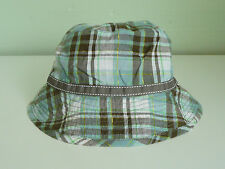 NEW MONSOON ACCESSORIZE LADIES TAUPE GREEN CHECK REVERSIBLE BOHO BUCKET SUN HAT