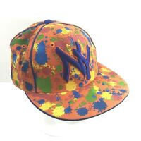Captain Fitted XL 7-1/2 Cap Flat Hat Hip Hop Splats On Orange NY Embroidery LNC
