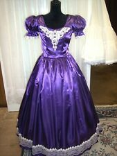 Civil War/Victorian Ballgown of Royal Purple Satin, with Ivory Lace and Trims