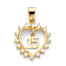White CZ Quinceanera Fancy Heart 14k Yellow Solid Gold Charm 15 Anos Pendant