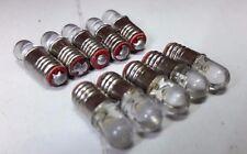 10x 12V E5 LES Lilliput LED Green Miniature Screw 00 OO HO Scale Signal Bulbs
