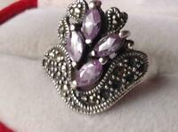 Vintage Russian Sterling Silver 925 Ring Amethyst ,Woman's Jewelry Size 8