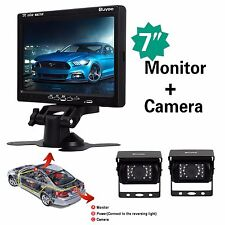 "CAR REAR VIEW KIT for Bus Truck 7"" LCD MONITOR + 2x IR REVERSING CAMERA 18LED"