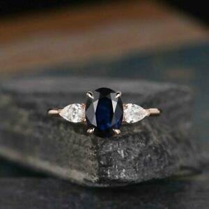 2.20Ct Oval Cut Blue Sapphire Simulated Diamond 14K Rose Gold Fn Engagement Ring