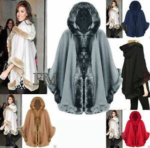 Womens Celebrity Inspired Poncho Ladies  Faux Fur Trim Hooded Cape Shawl Coat