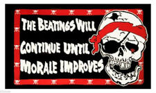 THE BEATINGS WILL CONTINUE 5ftx 3ft  FLAG BANNER DECORATION WITH FREE UK POSTAGE