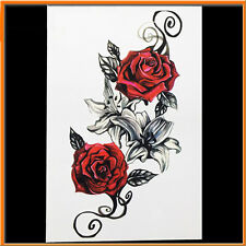 5PCS Roses Flower Temporary Tattoo Stickers Body Art 3D Rose Tatoo Waterproof US