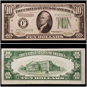 1934-C XF+ FRN $10 Ten Dollar Note Atlanta, GA F No Pinholes - No Reserve