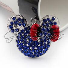 1PC 42*34m Blue Mouse Head Rhine Pendant Charm For Bubblegum Chunky Necklace