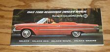 1963 Ford Owners Operators Manual Galaxie 500 XL 63