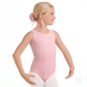 Eurotard 1089 girls pink tank leotard dance gymnastics cotton INT 6X-7