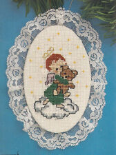 Vintage Angel With Teddy Lace Cross Stitch Christmas Ornament Kit #1217
