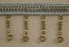 10 Yards Beaded FRINGE Trim for DRAPERY and UPHOLSTERY in (Gray / Brown)