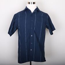 Haggar Luxury Microfiber Blue Stripe Button Down Dress Shirt Mens S Short Sleeve