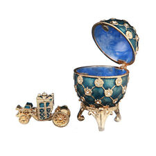 Faberge Egg Trinket Jewel Box Russian Coat of Arms & Carriage 2.4'' (6.2cm) blue
