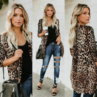 Women Leopard Print Long Sleeve Open Front Coat Blouse Cardigan Ladies Sexy Tops