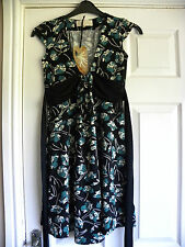RIVER ISLAND LADIES BLACK GREEN FLORAL DRESS SIZE 8 NEW