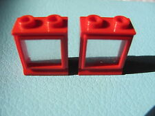 LEGO 7026 @@ Window 1 x 2 x 2 with Extended Lip, with Glass, Hole in Top @@ RED