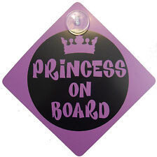 PRINCESS ON BOARD SIGN Baby Child Vechicle Sign Safety Warning Badge Suction Cup
