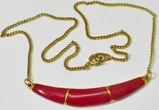 collier bijou vintage couleur or croissant déco émail rouge grenat * 4463