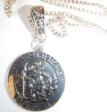 Double Sided Tibetan Silver St Christopher On 22'' Sterling Silver Chain Giftbag