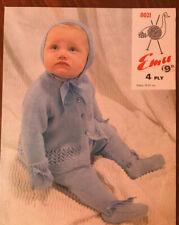 Emu KNITTING PATTERN Baby Pram Set Jacket Leggings Bonnet Mittens Vintage 8021