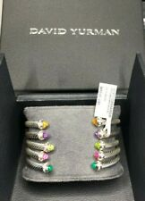 $650 David Yurman 4mm .Silver Cable Bracelet with Pink Tourm Stones and Diamonds