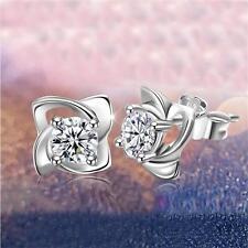 Women Jewelry Rhinestone Silver Plated Clover Earrings Ear Studs
