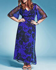Stunning NEW 12 Marisota Bespoke BLUE BLACK FORAL MAXI PARTY DRESS, RRP £50