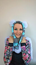 Cute Bear/Cat Hoodie Hat Scarf Grey White Blue Cheshire Cat with ears