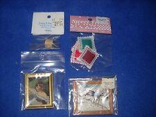 Miniature accessories: 2 framed pictures, basket, etc, 1:12 scale, Nib, lot #18