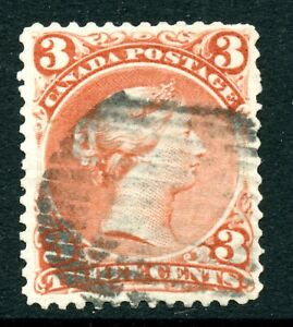 Weeda Canada 25 F/VF used 3c red Large Queen, crease/fault CV $35 #3