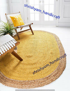 Indian Natural Jute Handmade Oval Home Decor Living Rug Reversible 5x8 Feet Rugs