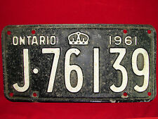 """VINTAGE 1961 Ontario Automobile License Plate """"J-76139"""" Collectible!! Old Plate!"""