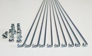 10 Set Of 294mm 14G Galvanised Wheel Spokes and12mm Brass Nipples 700c (622) MTB