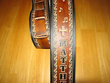 CUSTOM MADE LEATHER GUITAR STRAP (WITH YOUR NAME) MUSIC NOTES & CROSSES 2 1/2""
