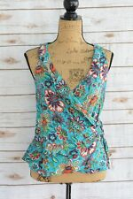 NWT xhilaration - Teal floral lightweight rayon sleeveless WRAP top, size S