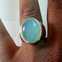 Natural Aqua Chalcedony Gemstone Sterling Silver Yellow Gold Men's Gift Ring