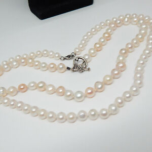 """LOT OF 2 CULTURED STRAND OF PEARLS STERLING SILVER CLASP 16.5"""" &18"""" NECKLACE"""