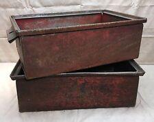 One, Vintage Industrial Steel Metal Storage Bin Box, Original Red Paint