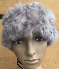light grey real genuine rabbit fur pelt ear warmer headband unisex hat