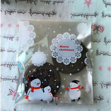 100PCS/SET Self Adhesive Christmas Snowman Party Treat Cookie Candy Gift Bags