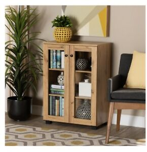 BAXTON MASON OAK BROWN FINISHED WOOD 2-DOOR STORAGE CABINET WITH GLASS DOORS
