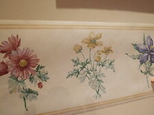 LARGE BLUE YELLOW RED PRETTY FLOWERS PATTERNED WALLPAPER BORDER READY PASTED