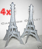 4 X EIFFEL TOWER 3D TABLE DECORATION WEDDING BRIDAL QUINCEANERA FAVORS SILVER